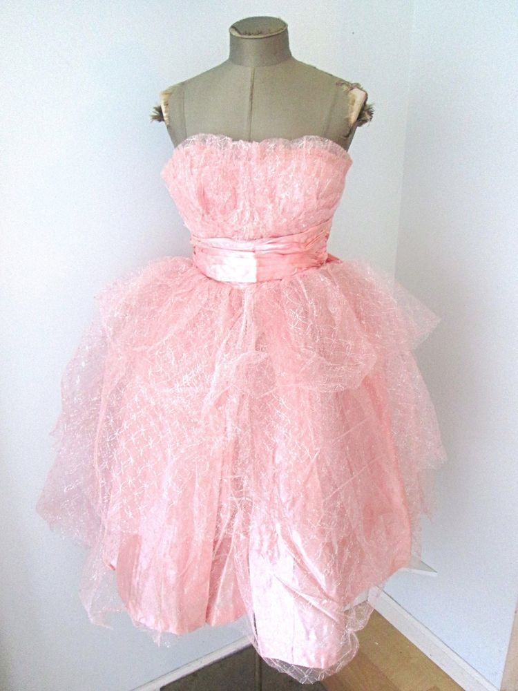 Vtg 50s Pink Satin Sparkle Tulle Strapless Prom Ball Gown Formal Tea ...