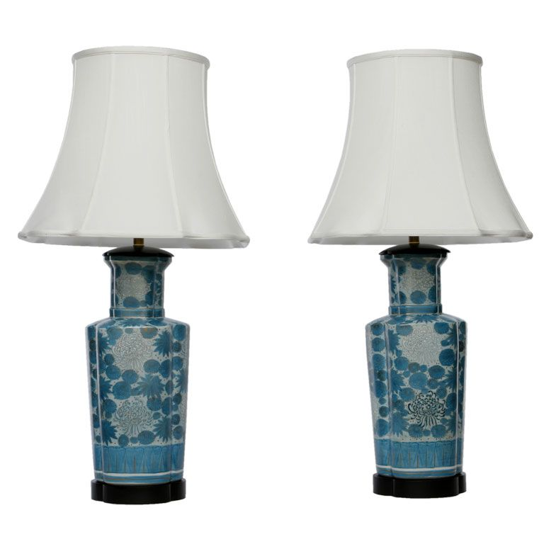 Pair Turquoise Blue And White Chinoise Chrysanthemum Table Lamps