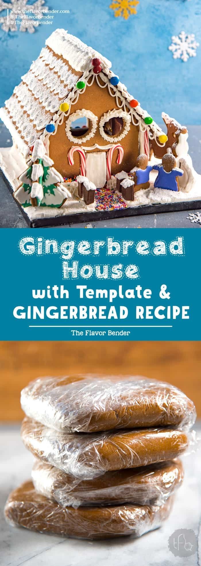 Gingerbread House (Recipe & Template) - The Flavor Bender #gingerbreadhousetemplate