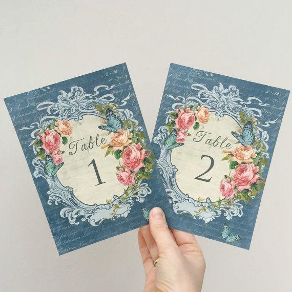 Jolies cartes Style Vintage Wedding Table cadre par RebeccasLeaves