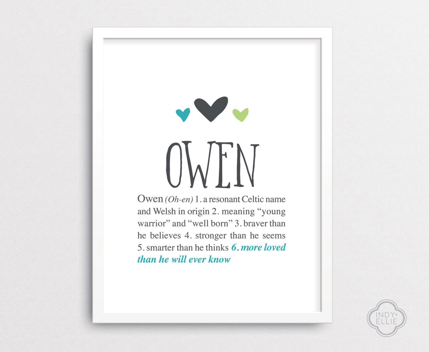Owen Personalized baby gift Baby name wall art