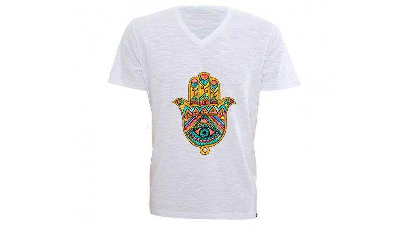 Camiseta Gola V Personalizada Hamsa Mão de Fátima