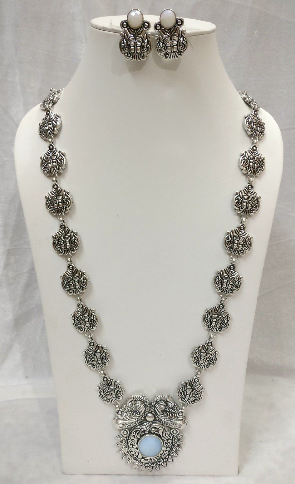 Indian Women Silver Oxidized Peacock Necklace Set Fashion Jewelry Wedding Gift Jewellery & Watches