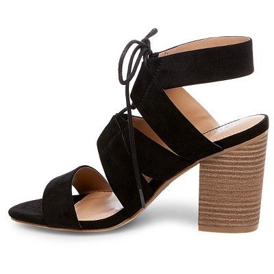 87bf8116087f6 Women s Harriet Lace Up Heeled Quarter Strap Sandals Merona - Black ...