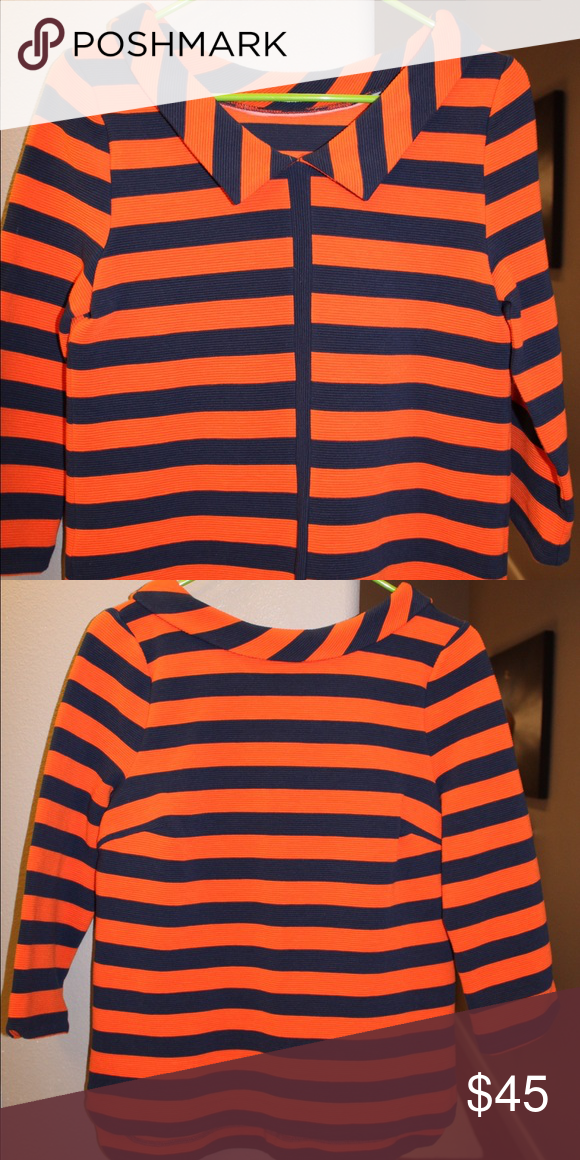 Boden orange/navy retro jacquard top New without tags (never worn), Boden jacquard top with retro roll neck, deep V back, and surprising vertical stripe detail down back. Length hits at low hip, semi fitted shape, 3/4 sleeves. Machine washable, fabric weight works great in spring/fall/winter. So unique and fun! Boden Tops