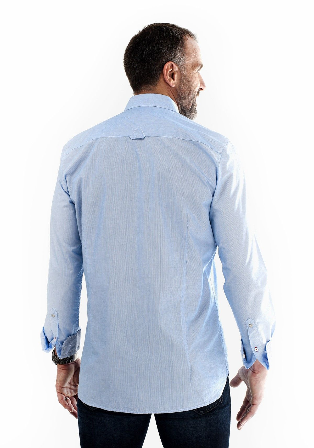 Chemise Bleue Rayures Mode Homme Popeline 100% coton. Style : Rayée