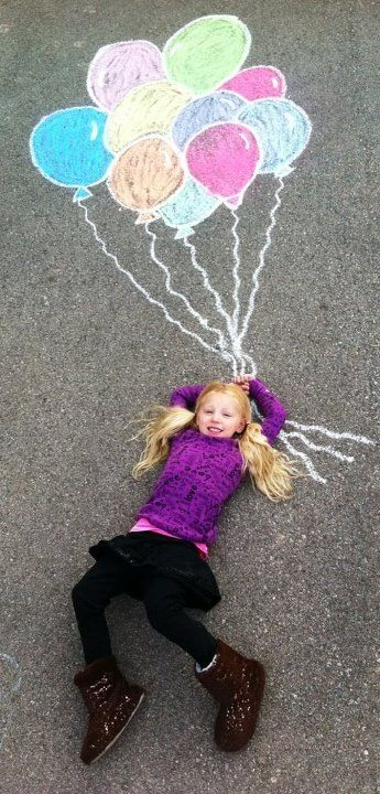 creative kid photography chalk art balloon fun! Summer spring