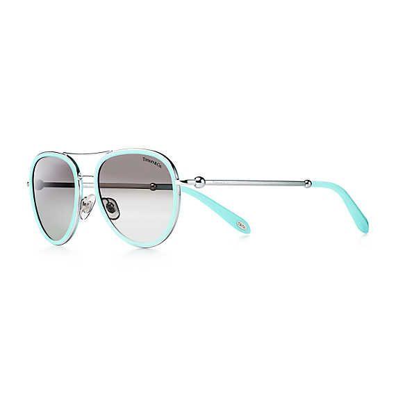 b3a8f45eaf88 Tiffany HardWear aviator sunglasses in Tiffany Blue® acetate.