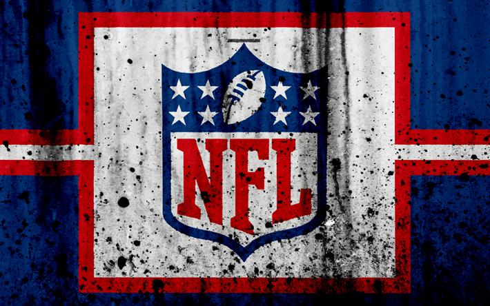 Lataa kuva NFL, 4k, grunge, logo, art, NFL logo, National Football League