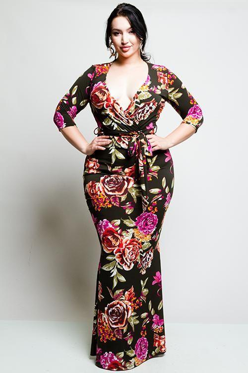 de8489a478 Plus Size Surplice Rose Maxi Dress