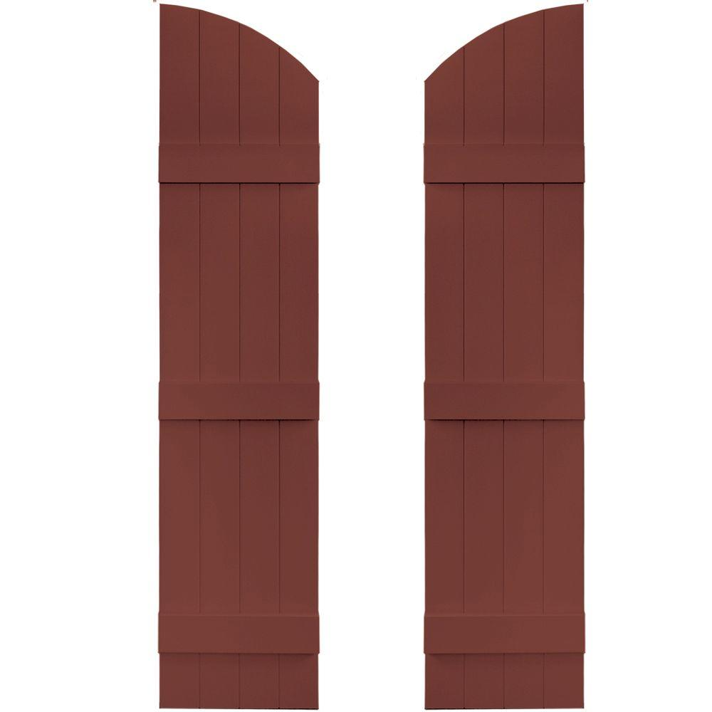 Builders Edge 14 in. x 57 in. Board-N-Batten Shutters Pair, 4 Boards Joined with Arch Top #