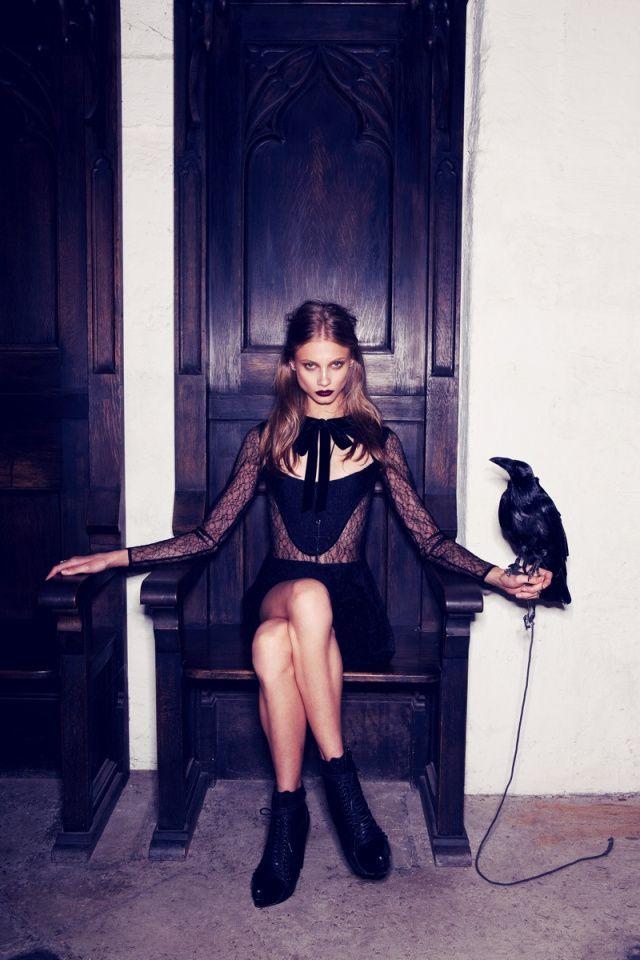 anna selezneva gets gothic in for love  u0026 lemons fall 2013 ads