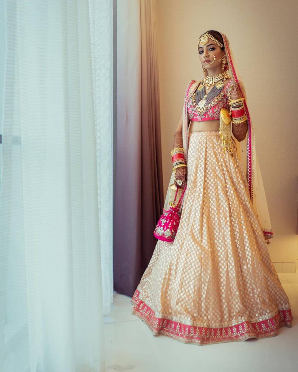 Stunning Anita Dongre Lehengas Spotted On Real Brides In 2020 Lehenga Color Combinations Pink Bridal Lehenga Beautiful Outfits