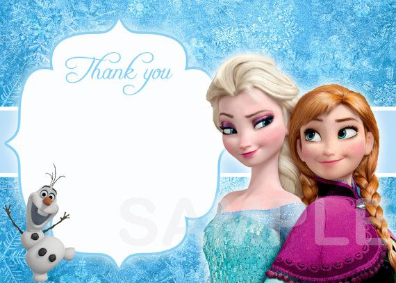 Instant Download Disney Frozen Thank You Card Birthday Party Etsy Disney Frozen Birthday Party Thank You Card Size Disney Frozen Birthday
