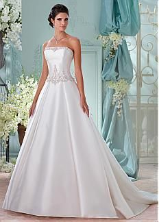 Elegant Satin Strapless Neckline A-line Wedding Dresses with Beaded Embroidery