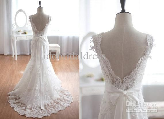 Great Custom Made New Arrival Lace Mermaid Wedding Dresses Cap Sleeves Lace Up Formal Wedding Dress Party Simple Wedding GownsBackless