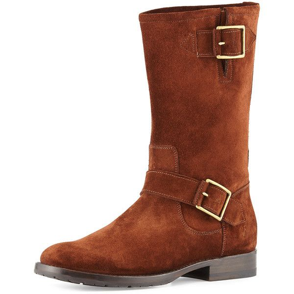 Frye Natalie Mid Engineer Boot ($420) ❤ liked on Polyvore featuring shoes, boots, brown, mid-calf boots, round toe boots, slip on boots, lug-sole boots, brown mid calf boots and engineer boots