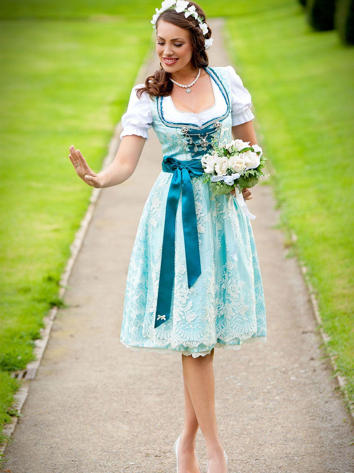 Hochzeitsdirndl Blau Von Alpenherz Modell Tiffany Dirndl Dirndl Trachten Blaues Dirndl