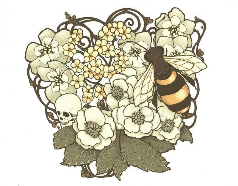 Art print  8.5x11 - Art Nouveau bee, skull, and flowers - Apis Calvaria. $15.00, via Etsy.