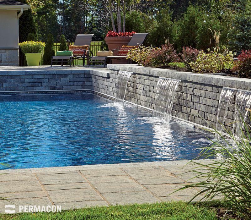 muret tendance avec chute dans piscine piscine spa pinterest muret piscines et permacon. Black Bedroom Furniture Sets. Home Design Ideas