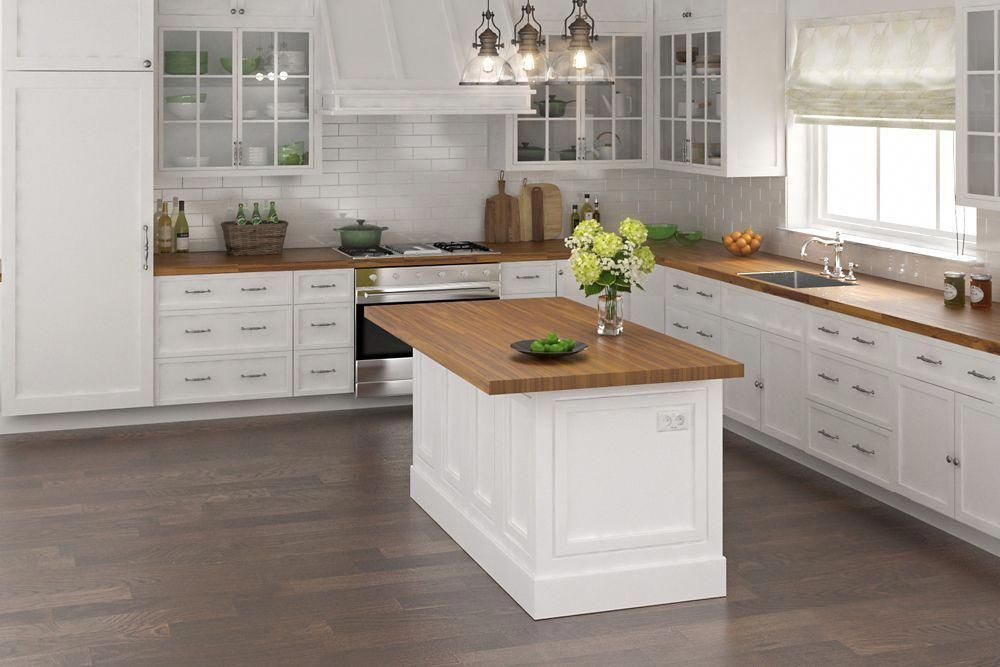 96 Inch X 25 5 Inch X 1 Inch Acacia Wood Kitchen Countertop Golden