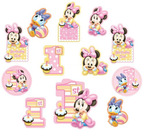 Minnie Mouse 1st Birthday Cutout Decorations MINNIE MOUSE PARTY