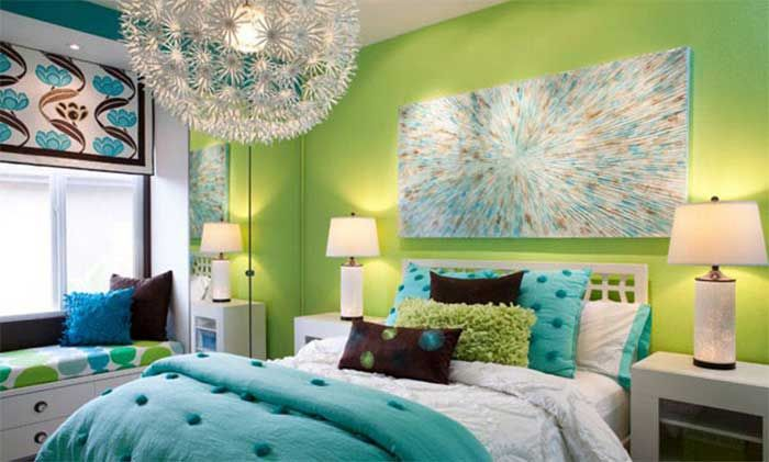 lime green and aqua blue are great combinations to make the bedroomlime green and aqua blue are great combinations to make the bedroom look modern and cheery
