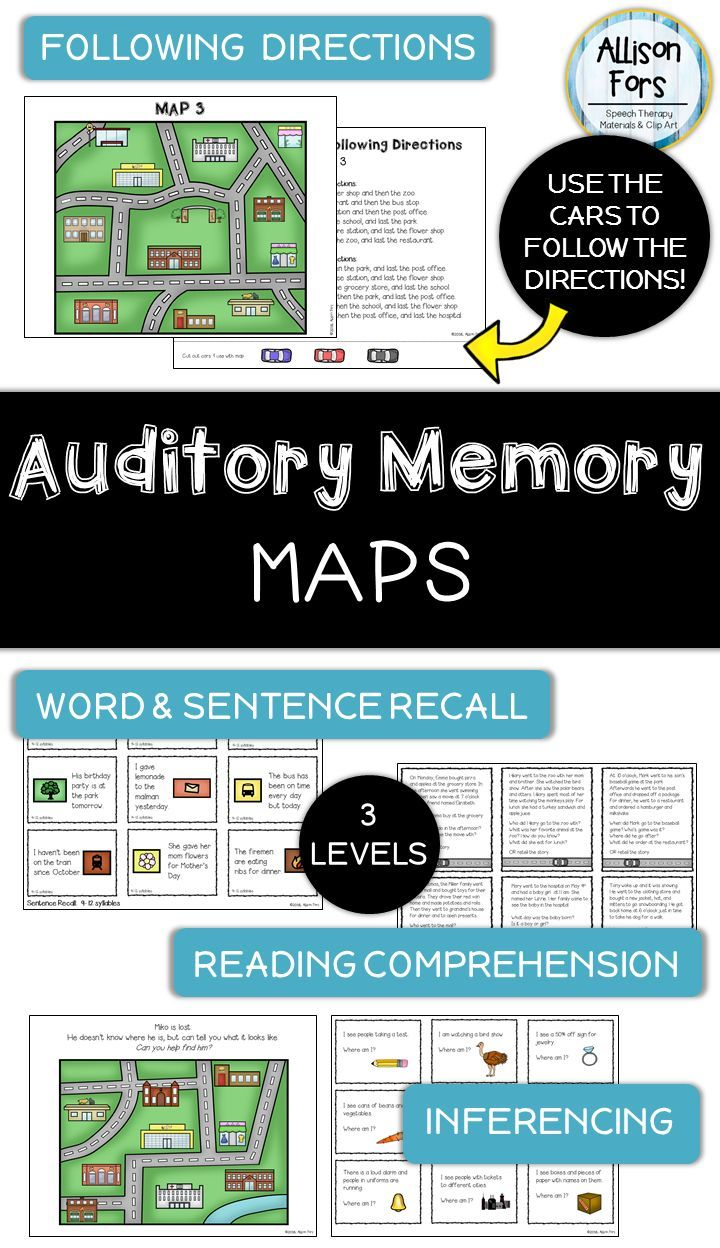 Auditory Memory MultiLeveled Activities Speech therapy