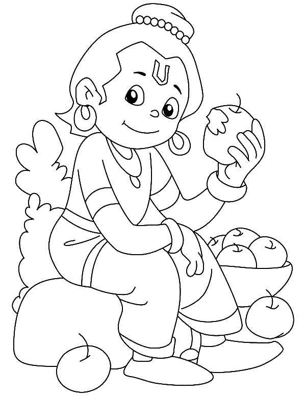 Krishna Eating Apple Coloring Pages Download Print Online Coloring Pages For Free Color Nimbus Apple Coloring Pages Free Coloring Pages Coloring Pages