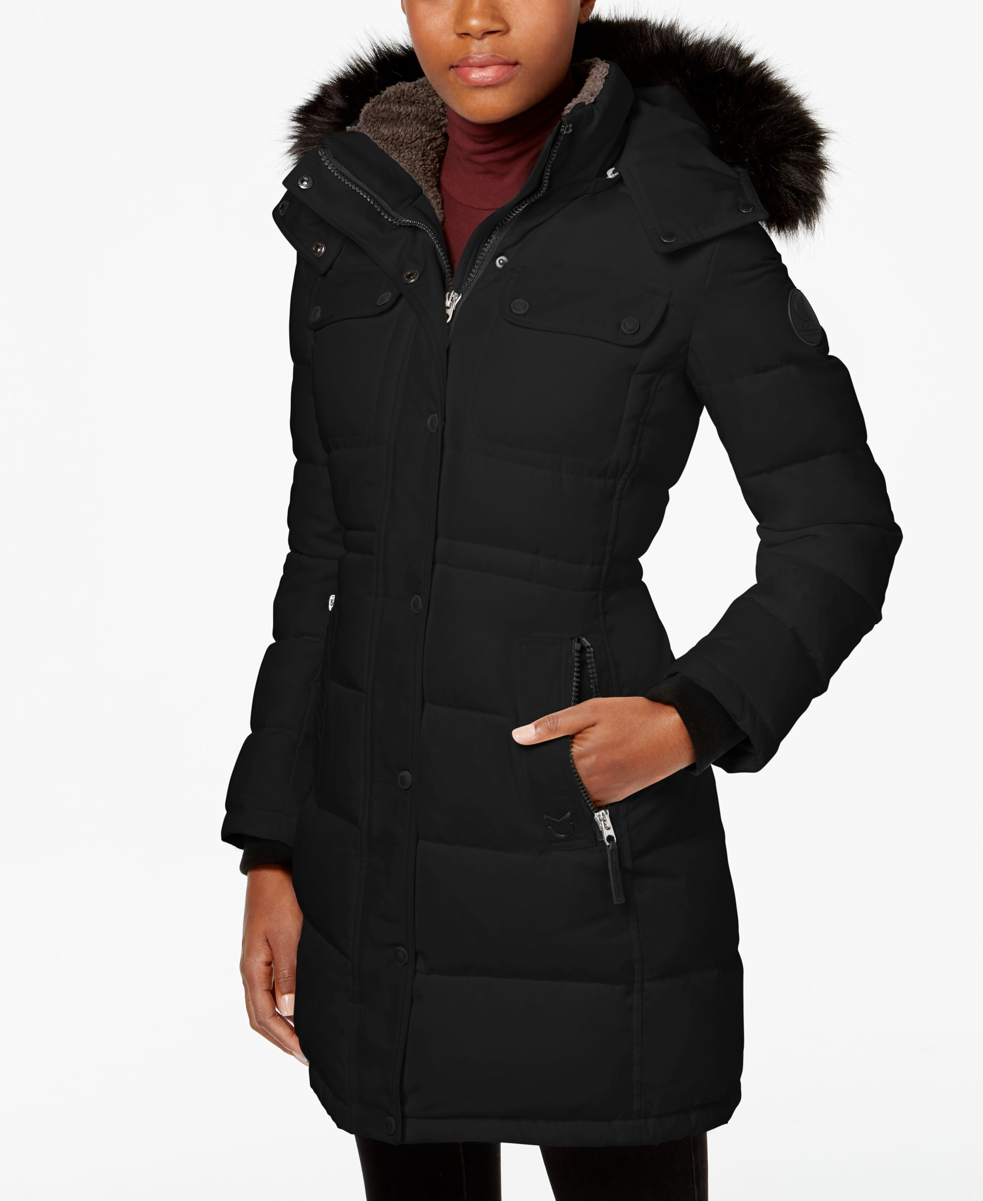 Calvin Klein Faux Fur Trim Quilted Puffer Coat Puffer Coat Fashion Modest Wardrobe [ 2378 x 1947 Pixel ]