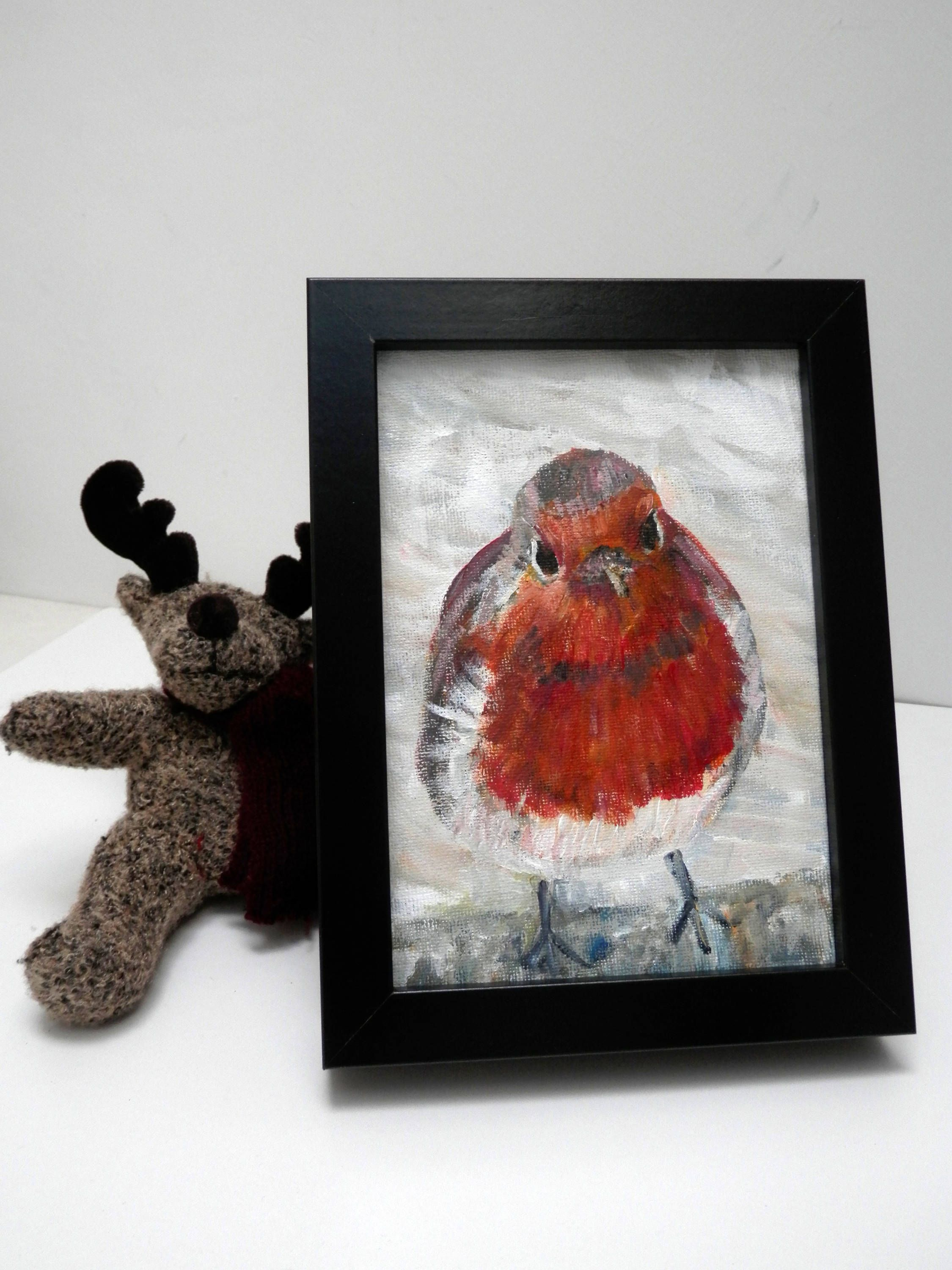 Red Robin Gift Painting Art Decor