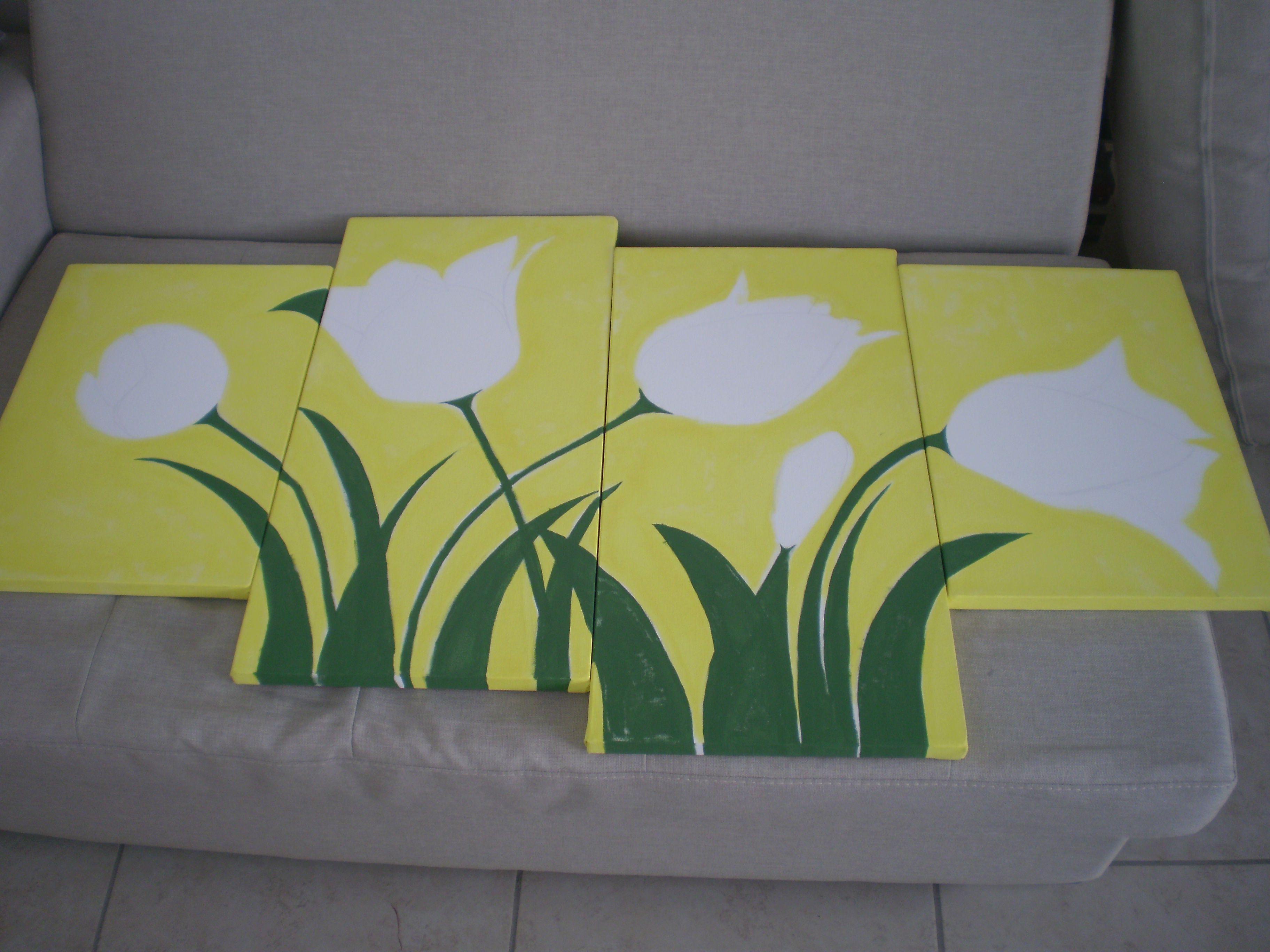 """Proceso de tulipanes """"leo sobre lienzos de 35x50 y 75x50"""