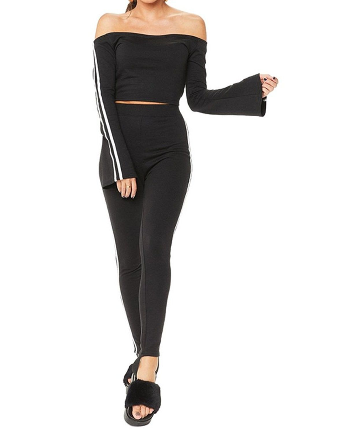 b58332523c3d84 Women s Casual Long Sleeve Off Shoulder Two Piece Sports Tracksuit - Black  - CK189D94C08