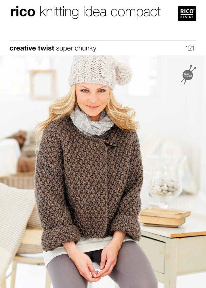 Cardigans in Rico Creative Twist Super Chunky - 121 For the smallest size, we recommend ordering an extra ball of yarn to ensure you have ample to complete your cardigan!