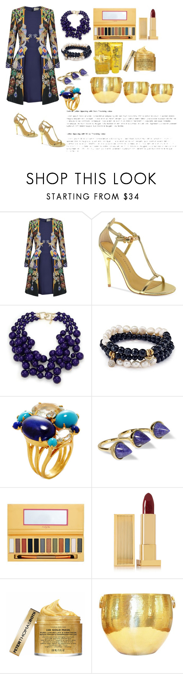 """Untitled #511"" by thestyle-chic ❤ liked on Polyvore featuring Mary Katrantzou, Chinese Laundry, Kenneth Jay Lane, Sequin, Bounkit, Noir Jewelry, Sugar, Lipstick Queen, Peter Thomas Roth and Versace"