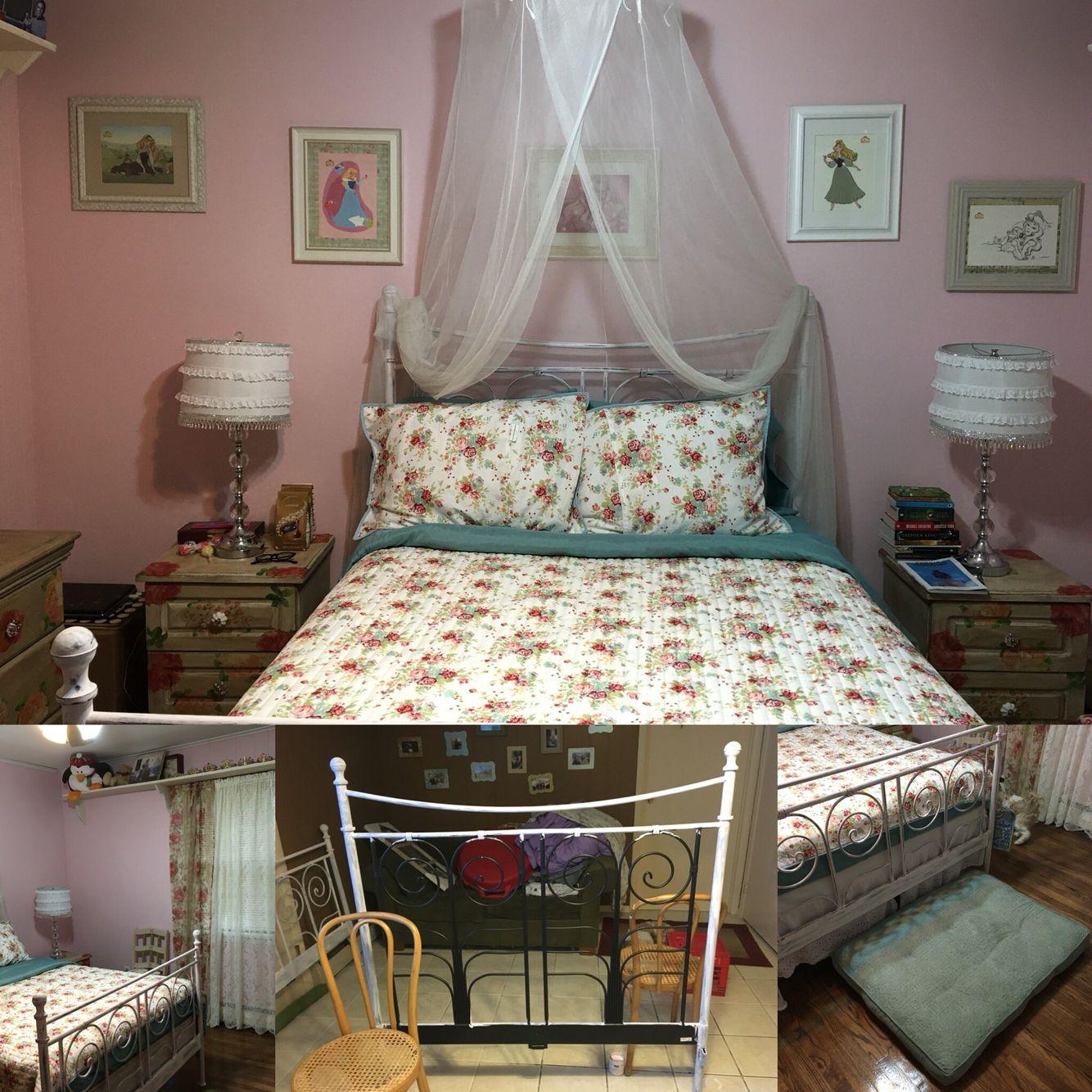 My new room's crowning glory Took my old black metal bed ...
