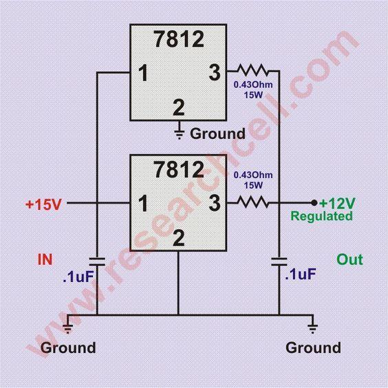 7812 in parallel circuit diagram ingenier a electronica rh pinterest com 7812 Regulator ic 7812 internal circuit diagram