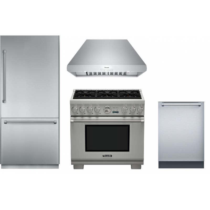 Thermador 36 In Prg366jg Gas Range 36 In Hpcb36ns Chimney Wall Hood 36 In T36bb820ss Built In Bottom Freezer Refrigerator Star Sapphire Dwhd651jfp Built Built In Dishwasher Kitchen Appliance Packages Thermador