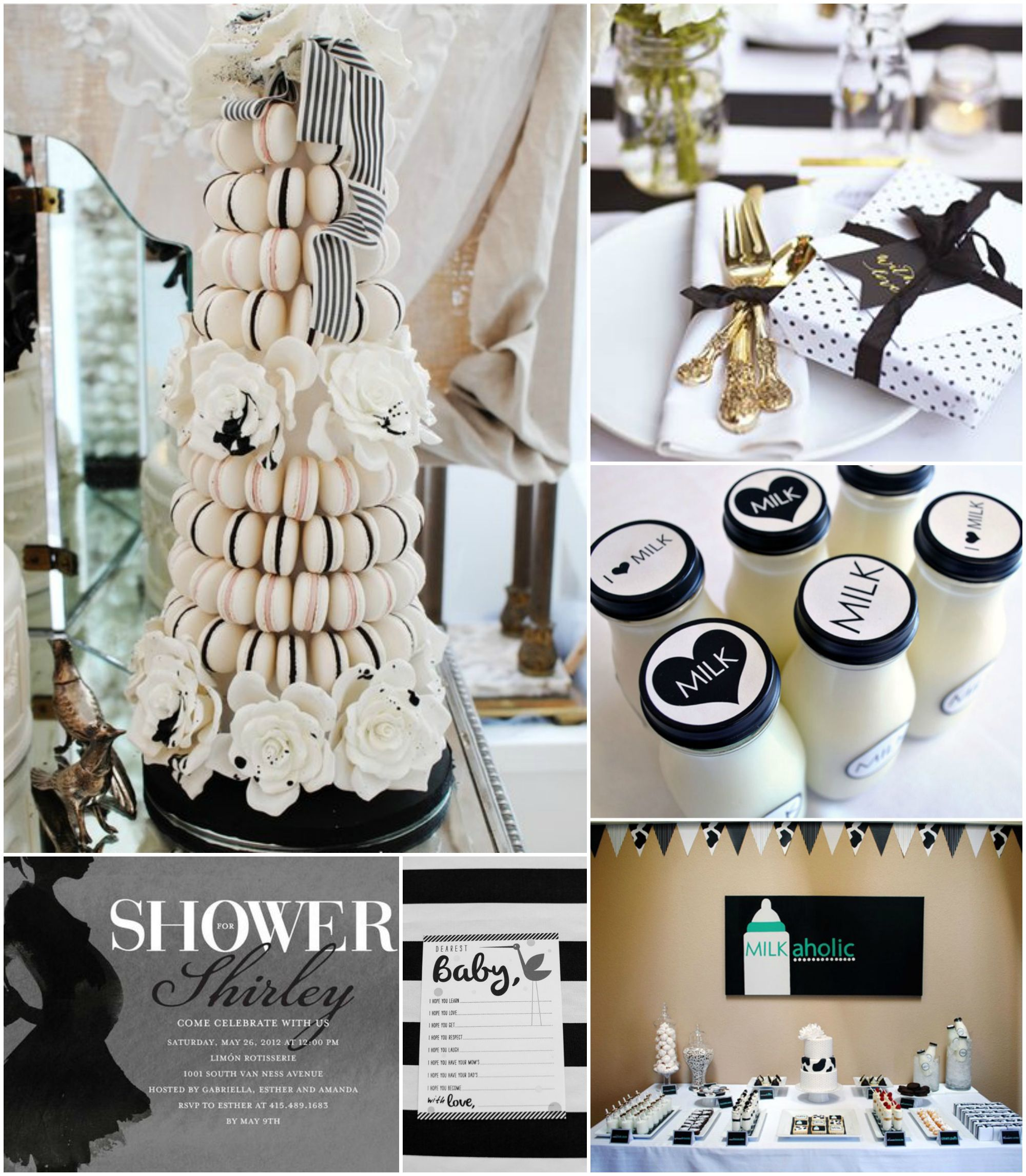 Black and white baby shower would be a cute idea for a - Baby shower party ideen ...