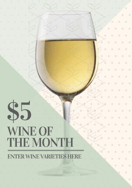 ff1eaa705c2 DIY Drinks Template - Easily editable posters, flyers and social media  images about drinks for hospitality. $5 Wine of the Month Poster/Flyer/ Template ...