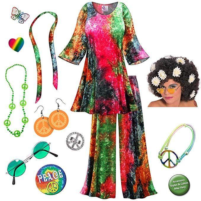 696c76891268d #Halloween #Womens #costumes #sexy #cute #Halloween2018 Crush Velvet Tie  Dye 2PC Plus Size Hippie Costume Deluxe Curly Wig Kit ...