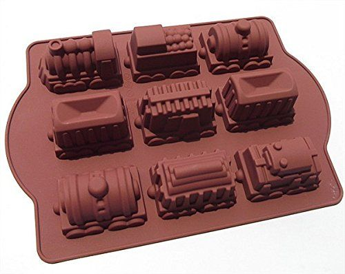 9 Trains Cake Mould Red Silicone