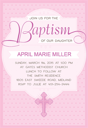 free printable baptism christening invitation dotted pink