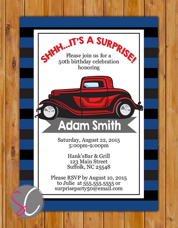 Adult Surprise Classic Car Birthday Party Invite Red Masculine Man Navy Grey Stripes Invitation