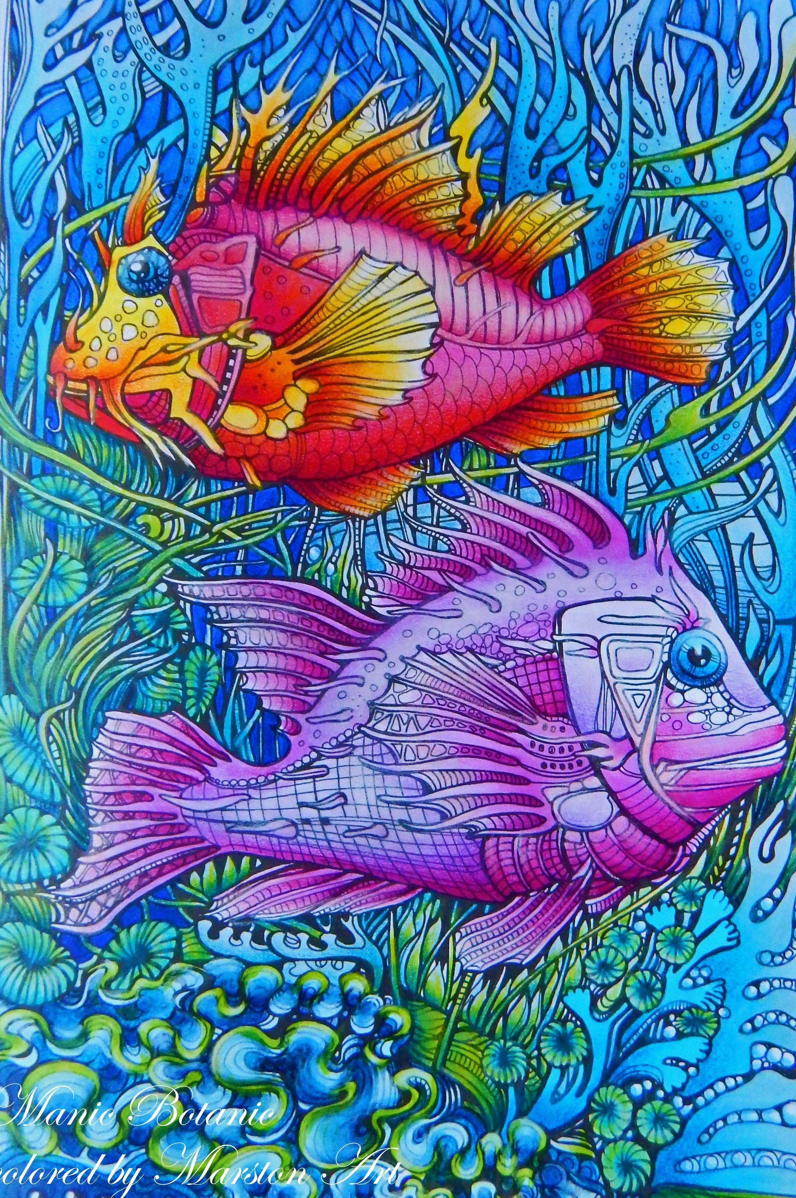 Manic Botanic von Irina Vinnik, Malbuch koloriert von Marston Art ...