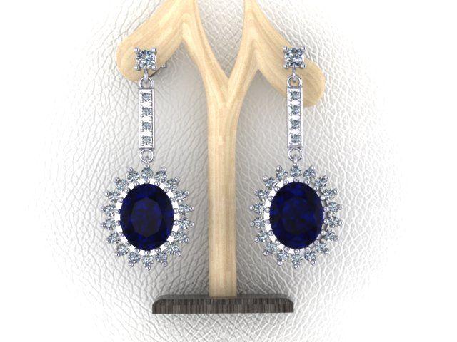 13f0360efb88 Aretes de Platino con Zafiro Azul y Diamantes Corte Brillante ...