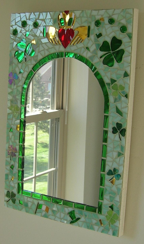 Irish Glass Mosaic Mirror with Claddagh, Shamrocks, and More | AHH ...