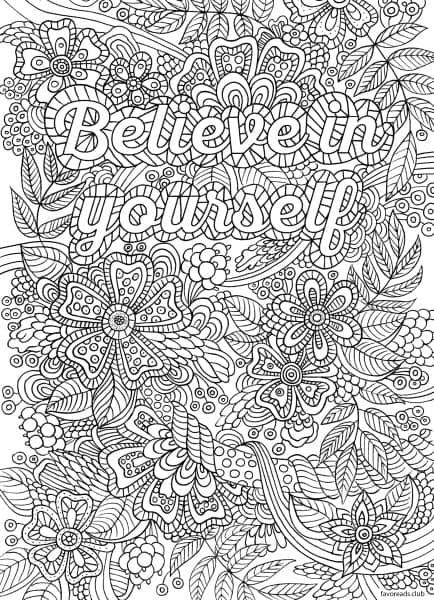 Believe in Yourself Words Coloring Pages for Adults