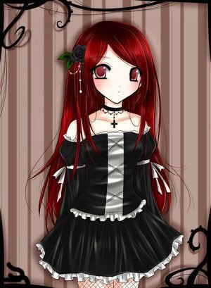 Anime Vampire Tumblr Anime Red Hair Crimson Hair Girl Red Dress