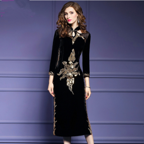 4bf562c9a0753 2018 Black Velvet Chinese Dress , Embroidery Cheongsam Dress , Gold ...